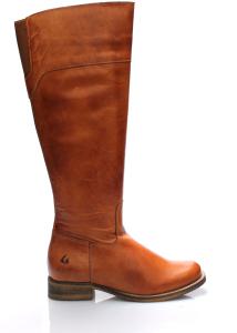 Hnědé kožené kozačky s elastickou vsadkou Online Shoes