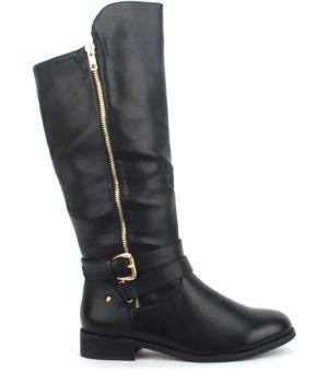 Černé kozačky se zlatým zipem Claudia Ghizzani 36